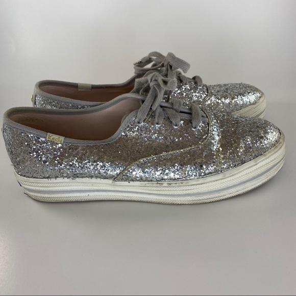KEDS x KATE SPADE Silver Sparkle Glitter Shoes ✨